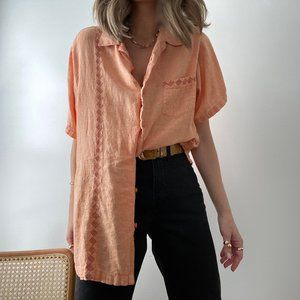 Vintage Embroidered Linen Relaxed Button Up